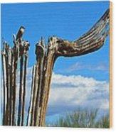Little Bird On Tall Dead Saguaro Wood Print