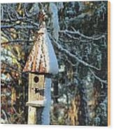 Little Birdhouse In The Woods Wood Print