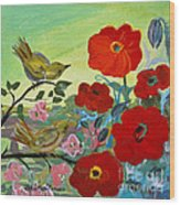 Little Birds And Poppies Wood Print