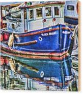 Little Blue Boat Hdr Wood Print