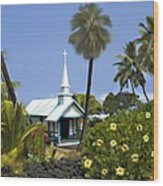 Little Blue Church Kona Wood Print