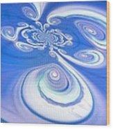 Little Blue Curly Q Wood Print