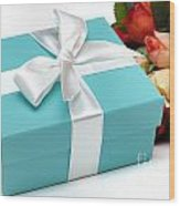 Little Blue Gift Box And Flowers Wood Print