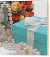 Little Blue Gift Box With Pearls And Flowers Wood Print