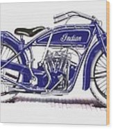 Little Blue Indian Wood Print
