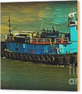Little Blue Tug - New York City Wood Print