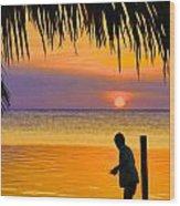 Little Boy Fishing Caye Caulker Belize Wood Print
