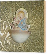 Newborn Boy In The Baptismal Font Sculpture Wood Print