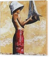 Little Boy In The Beach Wood Print
