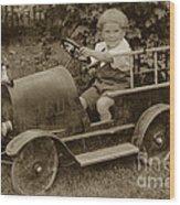 Little Boy In Toy Fire Engine Circa 1920 Wood Print