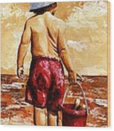 Little Boy On The Beach II Wood Print