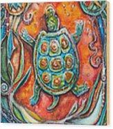 Little Brother Turtle II Wood Print