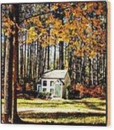 Little Cabin In The Woods Wood Print by Amanda Enos