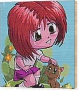 Little Cartoon Manga Girl Stroking Pet Cat Wood Print