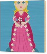 Little Cartoon Princess With Flowers Wood Print