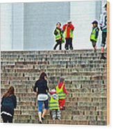 Little Children Climbing Steps Of Lutheran Cathedral Of Helsinki-finland Wood Print