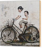 Little Children on a Bicycle Wood Print