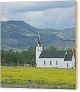 Little Church On Montana Prairie Wood Print