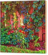 Little Country Scene Pink Flowers Climbing Leaves On Wood Fence Colors Of Quebec Art Carole Spandau Wood Print