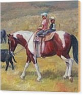 Little Cowboys Of Ruby Valley Western Art Cowboy Painting Wood Print