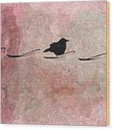 Little Crow In The Pink Wood Print