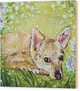 Little Dog Named Fern Wood Print