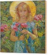 Little Flower Girl Wood Print