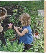 Little Gardener Wood Print