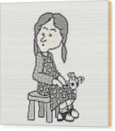Little Girl And Dog   Wood Print