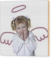 Little Girl Angel Wood Print