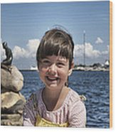 Little Girl By The Little Mermaid Wood Print