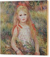 Little Girl Carrying Flowers Wood Print by Pierre Auguste Renoir