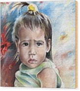 Little Girl From Tahiti Wood Print
