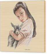 Little Girl Holding A Baby Goat Wood Print