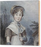 Little Girl In A Quaker Costume Wood Print