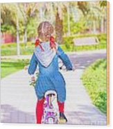 Little Girl On The Bicycle Wood Print