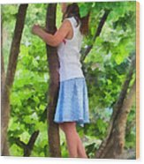 Little Girl Playing In Tree Wood Print