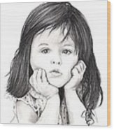 Little Girl Wood Print by Rosalinda Markle