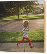Little Girl Running Wood Print