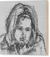 Little Girl With Hairband Wood Print