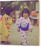 Little Girls At A Festival Wood Print