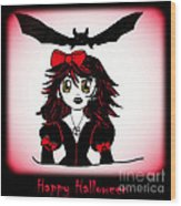 Little Goth Halloween Girl Wood Print