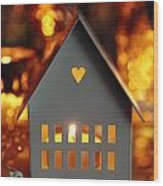 Little Gray House Lit With Candle For The Holidays Wood Print