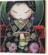 Little Green Teapot Wood Print by Karin Taylor