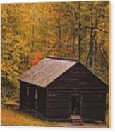 Little Greenbrier Schoolhouse In Autumn  Wood Print