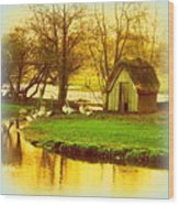 The Geese Have A Little House By The Flood Wood Print