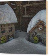 Little Houses Big Snow Wood Print