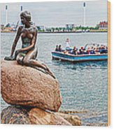 Little Mermaid Statue With Tourboat Wood Print