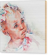 Little Miss Africa Wood Print