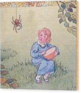 Little Miss Muffet Wood Print by Leonard Leslie Brooke